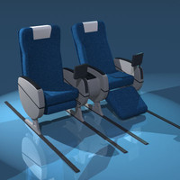 3d business class seats commercial plane model