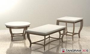 3d model living room table set