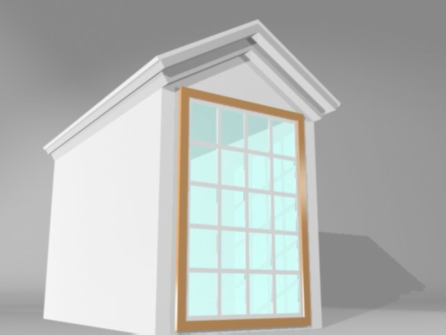 doghouse window glass 3d model