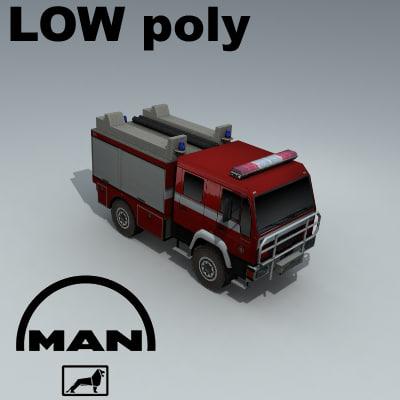 3d max man firetruck truck