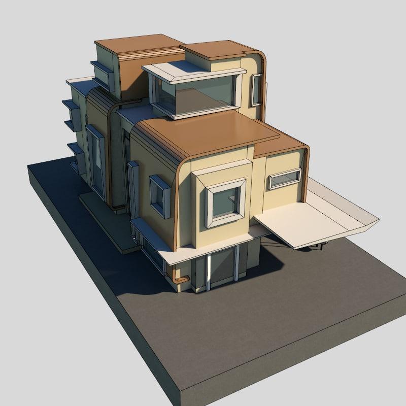 modern bungalow 3d model
