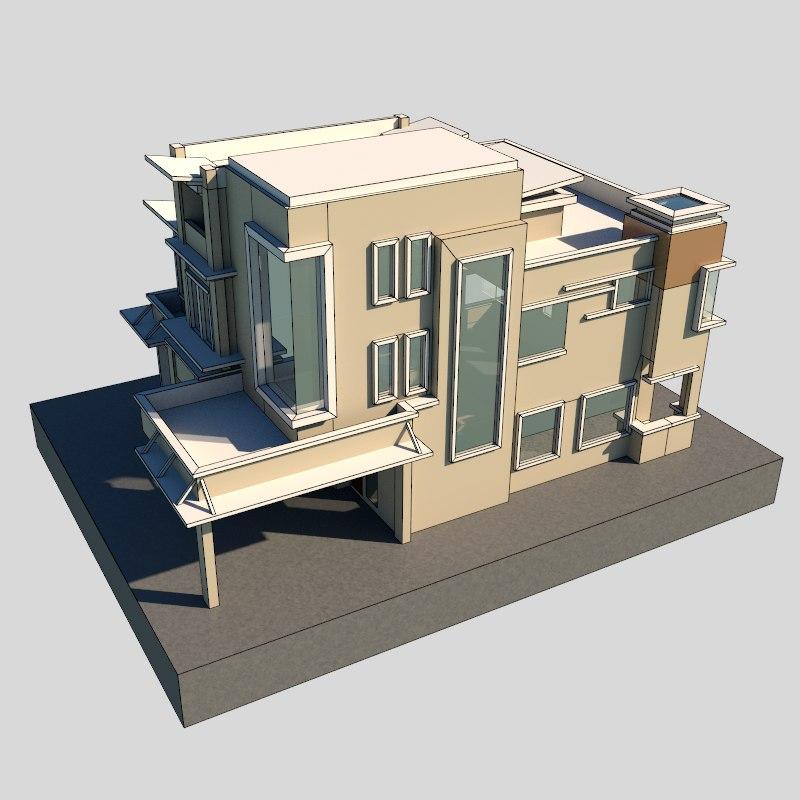 3d model modern bungalow