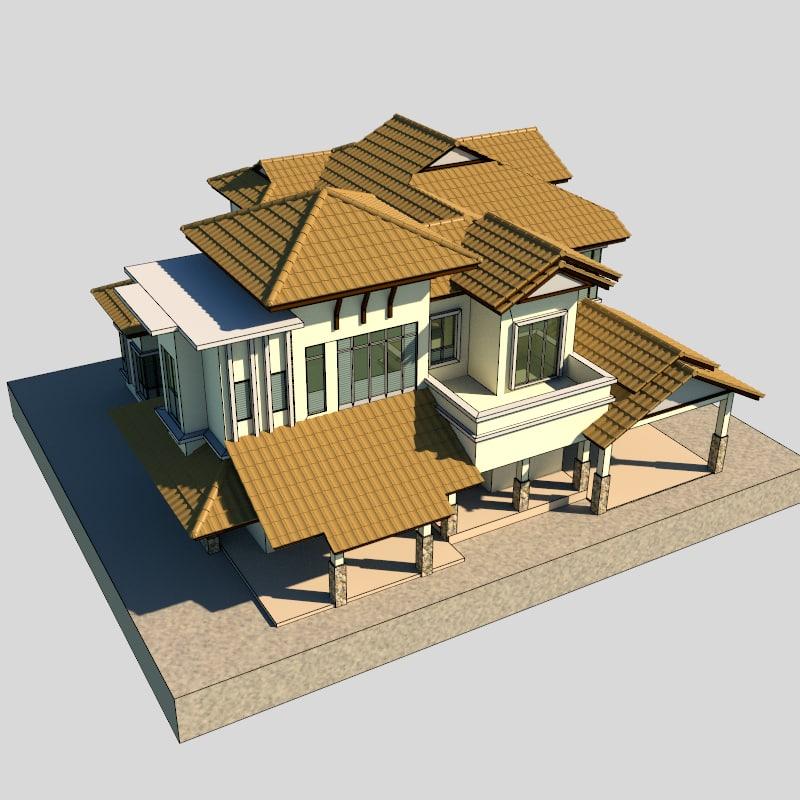 modern bungalow 3d 3ds