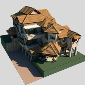 3d modern bungalow model