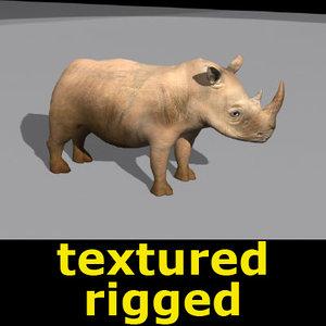 3d rhinoceros bone animation
