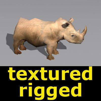 3d rhinoceros bone animation model