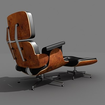 eames lounge chair ottoman 3d model