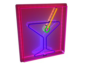 3d 3ds neon sign martini glass