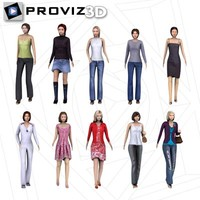 walking casual women 3d model