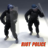 3d model police riot rigged