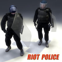 police riot 3d obj