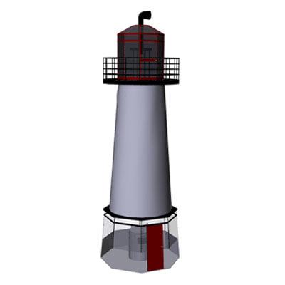 3d lighthouse mesh harbor model