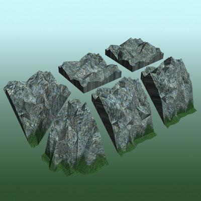 tiled mesh rock tileset 3d model