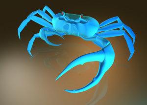 3ds blue land crab