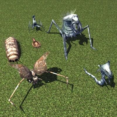 sci-fi creatures 3d model