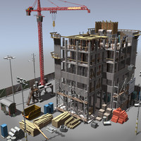 building construction crane 3d model