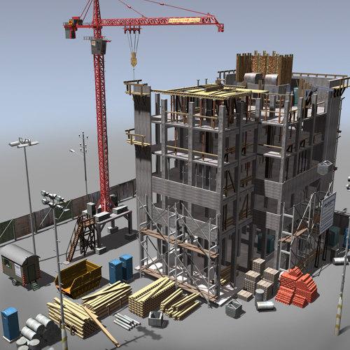 building construction crane 3d model 317882c07f98
