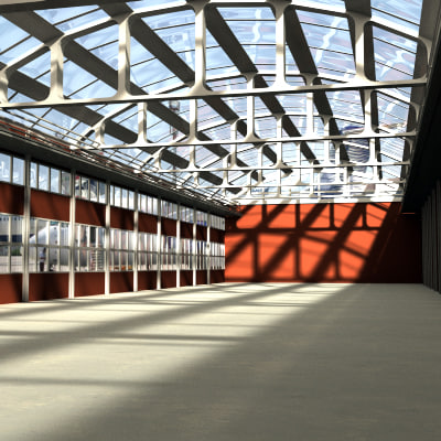 warehouse hangar 3d max