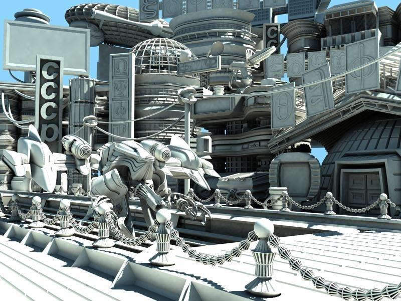 pack futuristic building 3d model