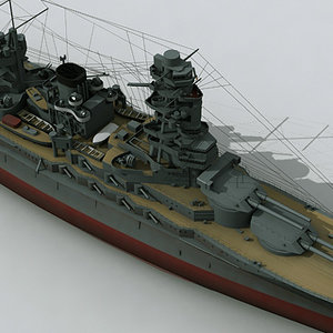 nagato battleship navy ship 3d model