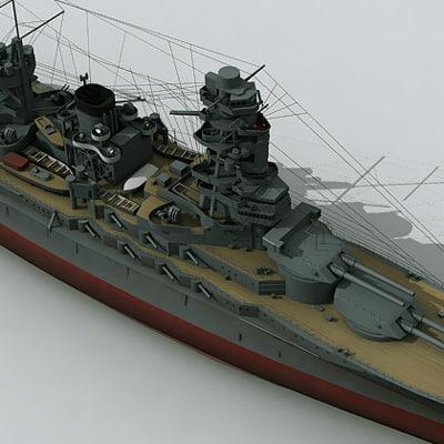 nagato battleship navy ship 3d model