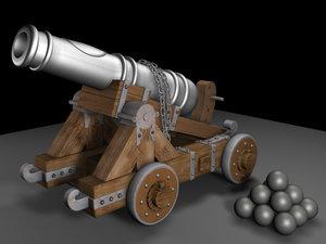 3d model ships cannon