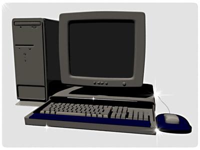 3d personal computer monitor keyboard model