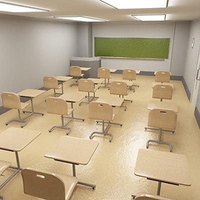 class room classroom 3d model