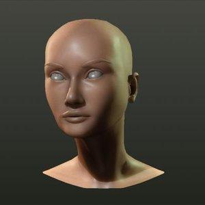 3d model female head audrey aaa