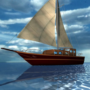 3d model of sailboat sea
