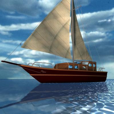 3d model of sailboat sea