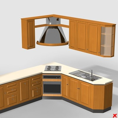 3d kitchen cabinet stove