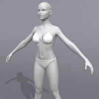 polygonal female bikini human 3d model