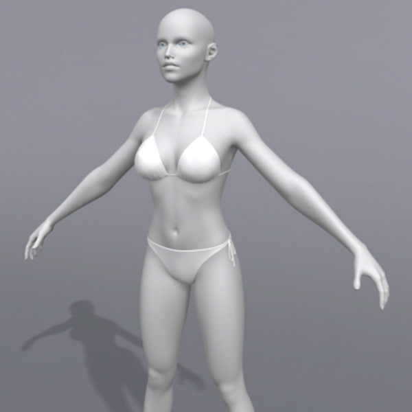 polygonal female bikini human 3d model