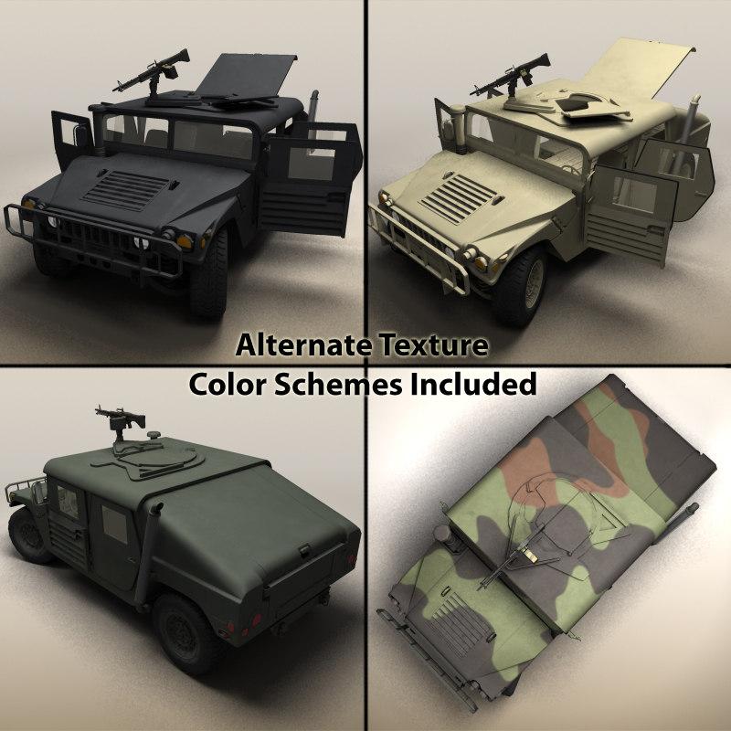 3d model realistic hmmwv vehicle military