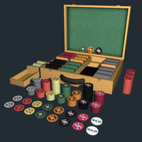 poker chip set case 3d model