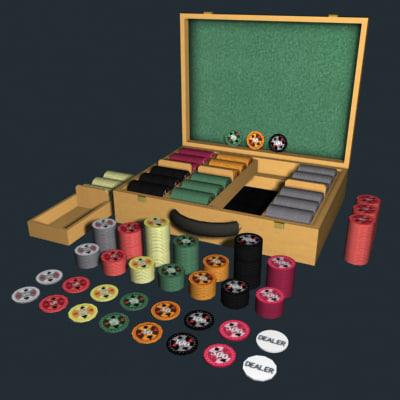 poker chip set case 3d model