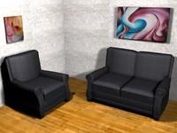 chair loveseat 2 modern 3d max
