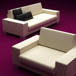 boconcept uno armchair sofa 3d model