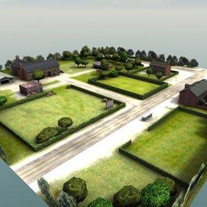 farm house buildings rt 3d model