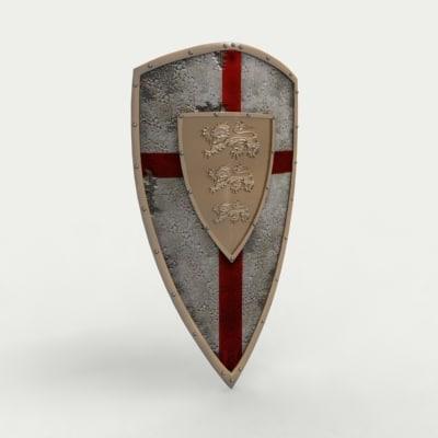 3d model medieval english shield