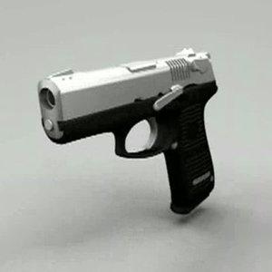 3d black silver handgun