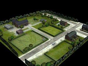 multi buildings road rt 3d model