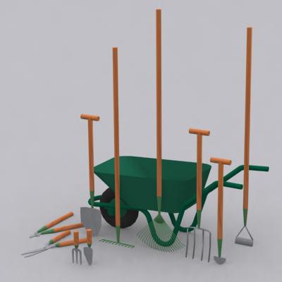 3d model garden tools edger fork