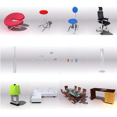 3d model modern techno furniture