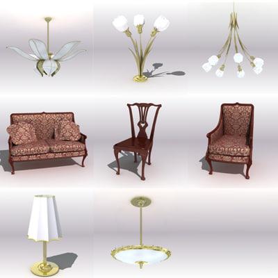 classic antique furniture 3d max