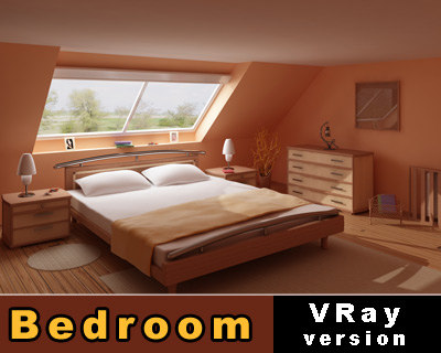 visualisation bedroom scene version 3d model