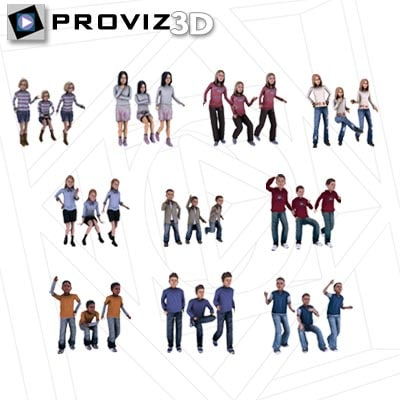 30 people children 3d model