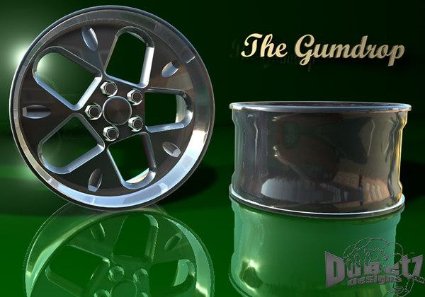 3d wheels gumdrop model