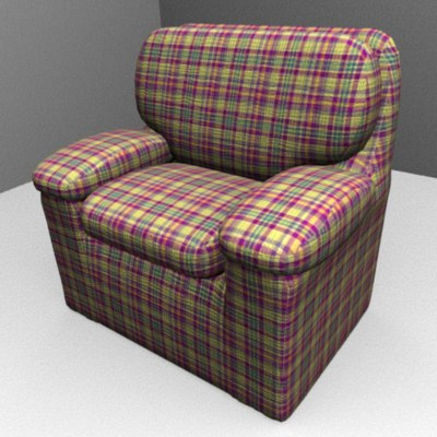 plaid chair 3d 3ds